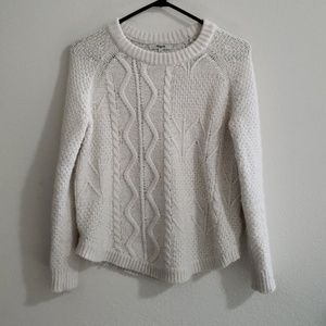 Madewell white cable knit sweater